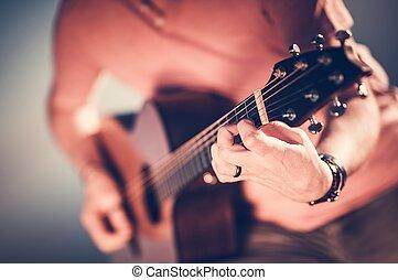 guitarra, acústico, músico