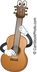 guitarra, acústico, mascote
