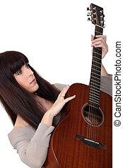 guitarra, acústico, mulher
