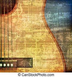 guitarra, acústico, resumen, grunge, plano de fondo