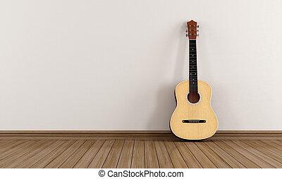 guitarra, acústico, sala, vazio