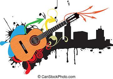 guitarra, acústico, skyline