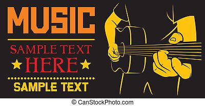 guitarra, acústico, tocando, cartaz