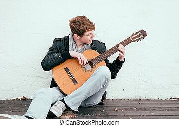 guitarra, acústico, tocando