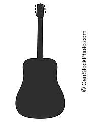 guitarra, acústico, vector, silueta