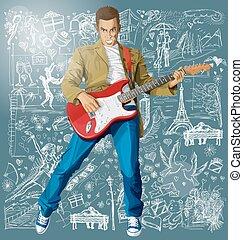 guitarra, amor, fundo, contra, homem