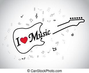guitarra, amor, música, elétrico