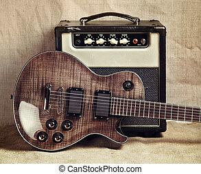 guitarra, amplificador, eléctrico