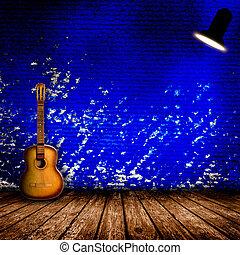 guitarra, antigas, sala, vazio