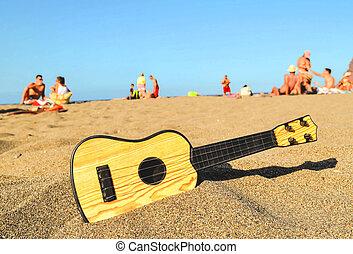 guitarra, areia, praia