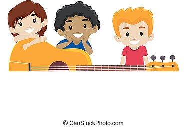 guitarra, atrás de, crianças, fundo