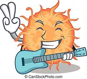 guitarra, bactérias, caricatura, tocando, desenho, músico, talentoso, endospore