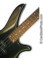 guitarra, baixo, detalhe, quatro, cadeias, elétrico