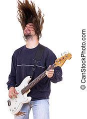 guitarra, baixo, músico, cima, cabelo, macho, tocando