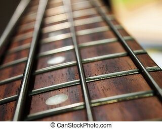 guitarra baja, cuello, y, cuerdas