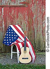 guitarra, bandera estadounidense