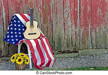 guitarra, bandera, girasoles