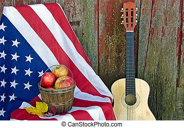 guitarra, bandera, manzanas