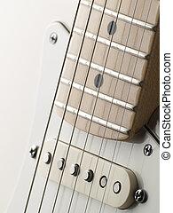 guitarra, bobina, branca, único