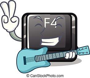 guitarra, botón, f4, forma, caricatura