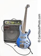 guitarra, branca, amplificador, elétrico, isolado