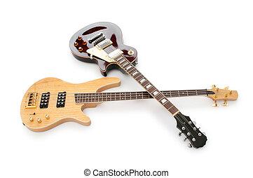 guitarra, branca, isolado, fundo, musical