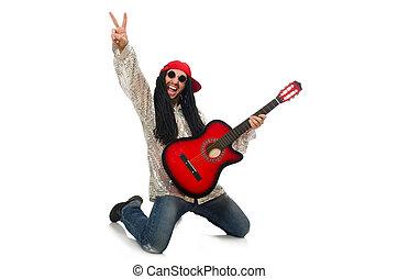 guitarra, branca, músico, macho, isolado