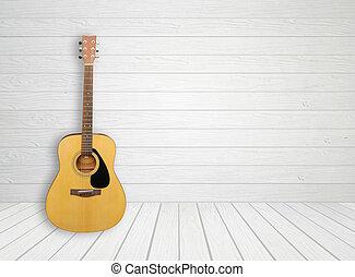 guitarra, branca, madeira, sala