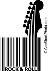guitarra, código, barra, upc