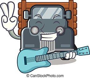 guitarra, caminhão, forma, antigas, mascote