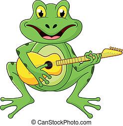guitarra, cantando, rã