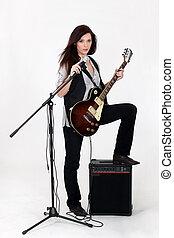 guitarra, cantante, hembra