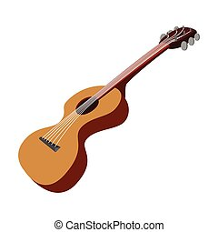 guitarra, caricatura, ícone
