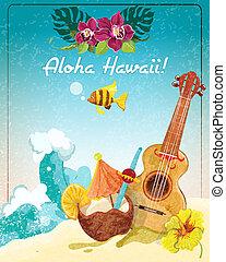 guitarra, cartaz, havaí, férias