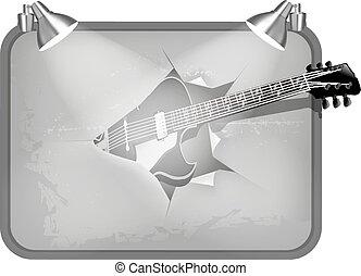 guitarra, cartel, se estropea