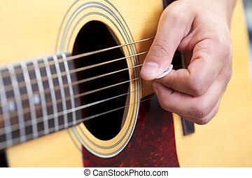 guitarra, cierre, Arriba