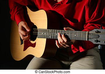 guitarra, close-up, mãos