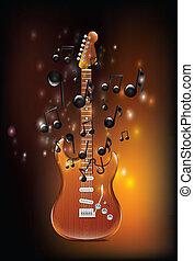 guitarra, com, melodia