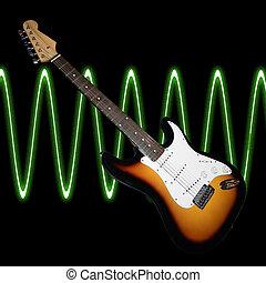 guitarra, con, ondas acústicas