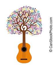 guitarra, conceito, árvore, ilustração, nota, música