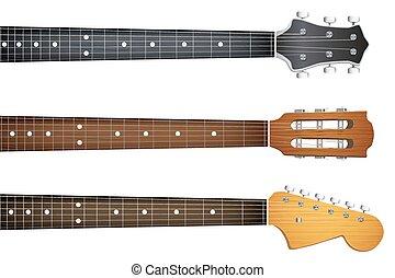 guitarra, conjunto, fretboard, cuello, headstock