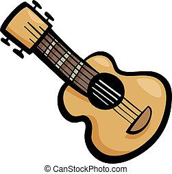 guitarra, corte arte, caricatura, ilustração