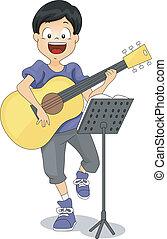 guitarra, criança