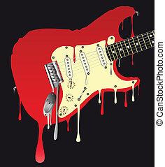 guitarra, derretendo, elétrico