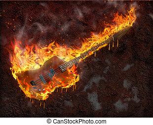 guitarra, derretimiento, llameante