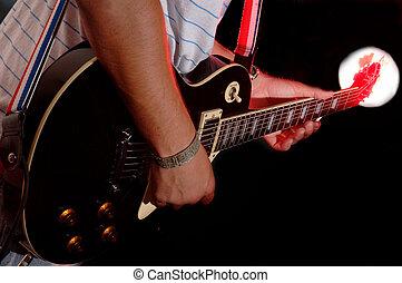 guitarra, desempenho, -, faixa música