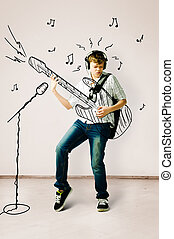 guitarra, desenhado, tocando
