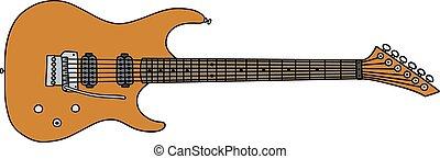 guitarra, dourado, elétrico