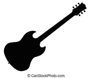 guitarra, eléctrico, estándar