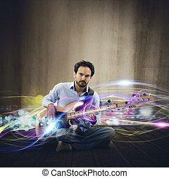 guitarra, elétrico, efeito